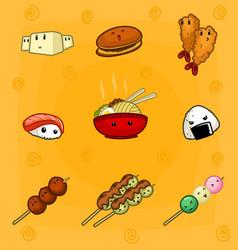 Cute cartoon mural doodle eye japanese food vector