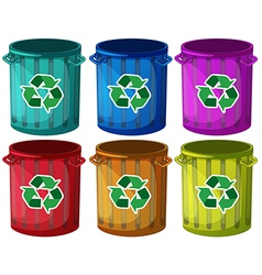 Trashbins with recycle signs vector image