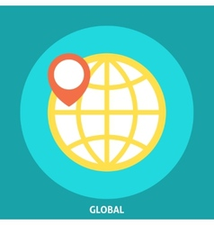 Globe icon with pointer vector