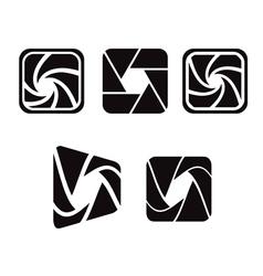 Camera objective shutter icon vector