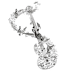 Guitar and music notes4 vector