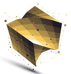 Gold squared twisted abstract 3d shape digital vector