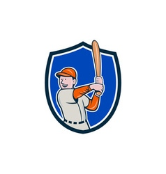 Baseball player batting stance crest cartoon vector