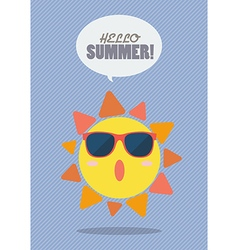 Hello summer with summer sun vector