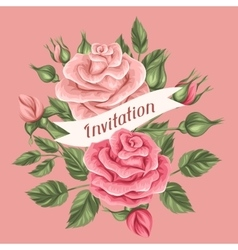 Invitation card with vintage roses Decorative vector image