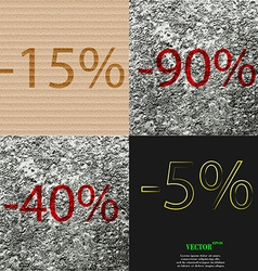 90 40 5 icon set of percent discount on abstract vector