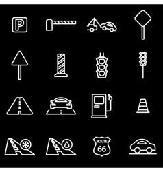 Line road icon set vector