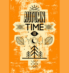 Autumn time retro grunge poster vector