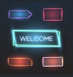 Big set of neon sign plates vector