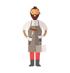 Butcher young chef decorating delicious character vector