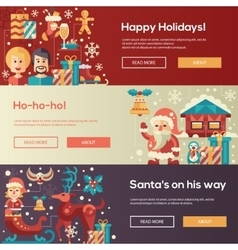 Christmas flat design website banners vector image vector image