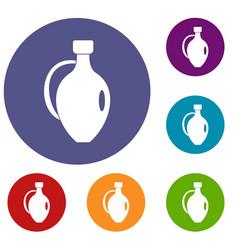 Clay jug icons set vector