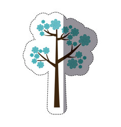 Color sticker silhouette with blue floral tree vector