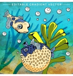 Colorful aquarium fishes vector