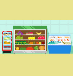 Counters with food vegetables and fruits vector
