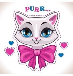 Cute cartoon white cat vector image