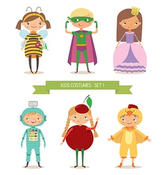 Cute kids in different costume vector image