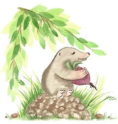 Cute watercolor mole vector