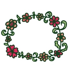 Hand drawn floral round frame vector image vector image