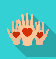 Hands up with hearts icon in flate style isolated vector