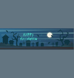 happy halloween banner cemetery graveyard with vector image
