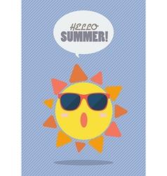 Hello Summer with summer sun vector image