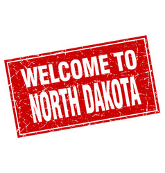 North dakota red square grunge welcome to stamp vector