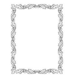 oak leaf frame black silhouette vector image vector image