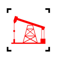Oil drilling rig sign red icon inside vector