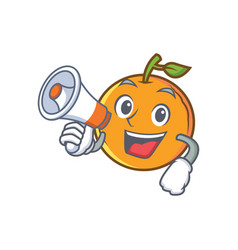 Orange fruit cartoon character with megaphone vector