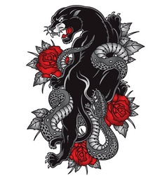 Panther with snake tattoo graphic vector image vector image