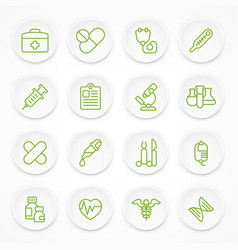 Round green medical icons vector