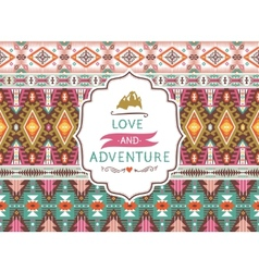Seamless aztec pattern with geometric elements and vector image
