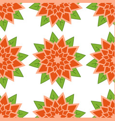 seamless pattern of red-orange flowers with green vector image vector image