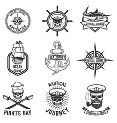 set of nautical emblems design elements for logo vector image