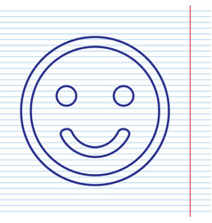 Smile icon navy line icon on notebook vector
