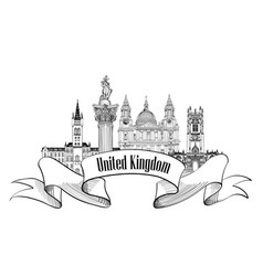 Uk label famous english landmark set travel vector