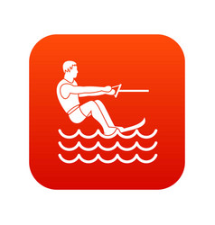 Water skiing man icon digital red vector
