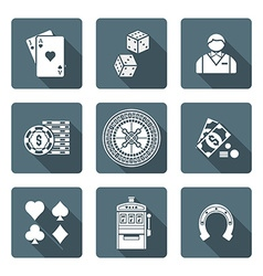 White monochrome various gambling icons collection vector