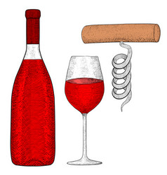 wine set bottle of red wine with glass and vector image vector image