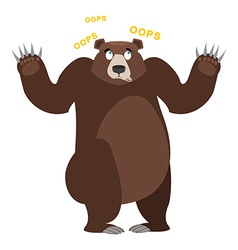 Surprised Bear OOPS Grizzly perplexed Struck by vector image