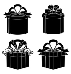 Gift box silhouette set vector