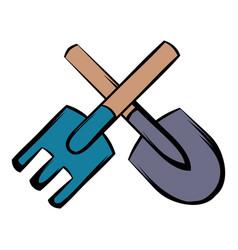 Spade and pitchfork icon cartoon vector