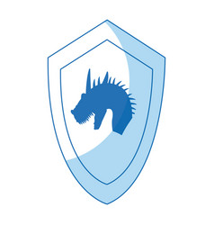 cartoon shield dragon ancient war symbol vector image