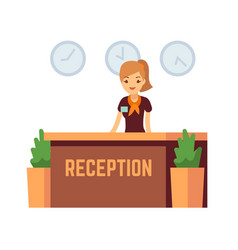 bank office or hotel reception with receptionist vector image