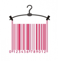 Clothes hanger and barcode vector