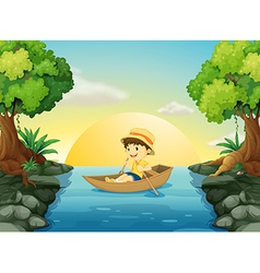 A boy boating vector