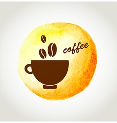 Cup of coffee on a yellow watercolor background vector image