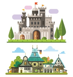 Medieval stone fortress vector