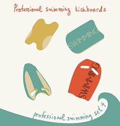 Professional swimming equipment set in fl vector